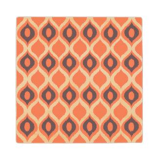 Orange Retro Geometric Ikat Tribal Print Pattern Wood Coaster