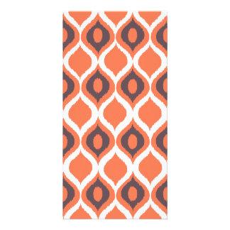 Orange Retro Geometric Ikat Tribal Print Pattern Photo Cards
