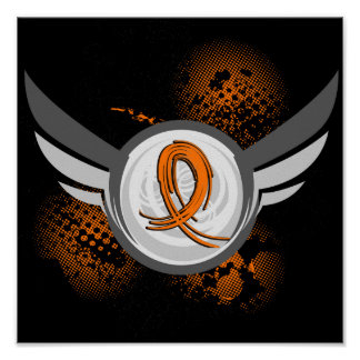 Orange Ribbon And Wings Multiple Sclerosis Poster