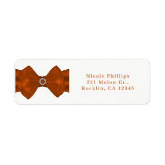 Orange Ribbon & Diamonds Bridal Shower Invitation Return Address Label