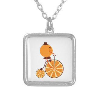 Orange ride silver plated necklace