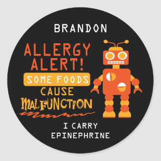 Orange Robot Food Allergy Alert Stickers
