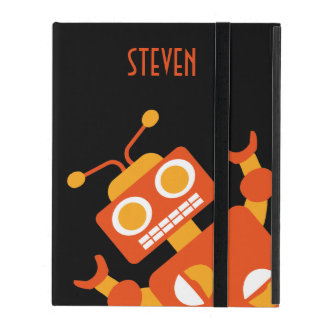 Orange Robot Personalized Fun Kids Silly Cool iPad Cover