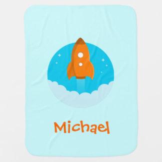 Orange Rocketship Baby Blanket