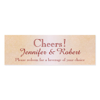 Orange Rose and Butterfly Wedding Drink Tickets Business Card