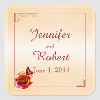 Orange Rose and Butterfly Wedding Envelope Seal Square Sticker