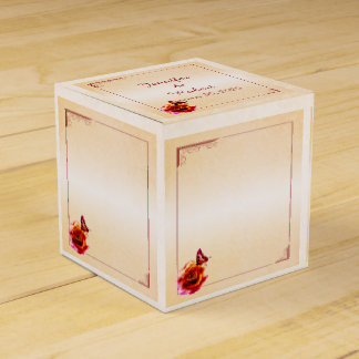 Orange Rose and Butterfly Wedding Favor Box