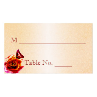 Orange Rose and Butterfly Wedding Place Cards Business Cards