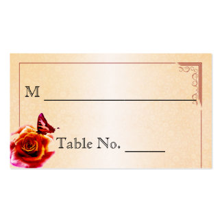 Orange Rose and Butterfly Wedding Place Cards Business Card Templates