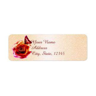 Orange Rose and Butterfly Wedding Return Address Return Address Label