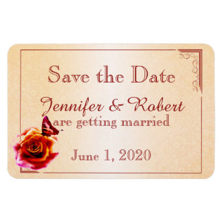 Orange Rose and Butterfly Wedding Save the Date Rectangular Photo Magnet