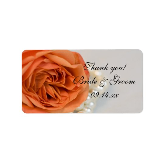 Orange Rose and Pearls Wedding Thank You Favour Label