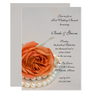 Orange Rose and White Pearls Post Wedding Brunch Card