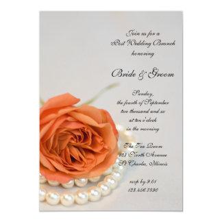 Orange Rose and White Pearls Post Wedding Brunch Card