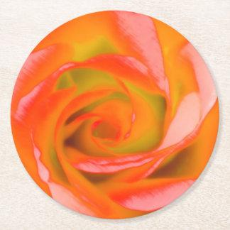 Orange Rose Close-up Round Paper Coaster