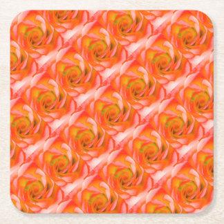 Orange Rose Close-up Square Paper Coaster