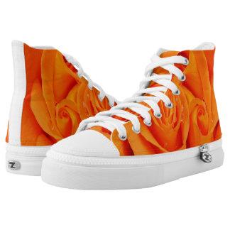 Orange rose flower  rockabilly hightop shoes printed shoes