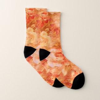Orange Rose Flower Socks