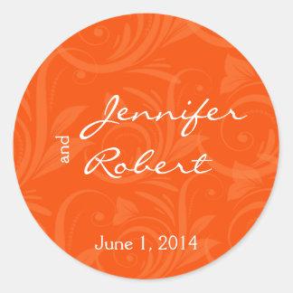 Orange Rose Graphic Wedding Envelope Seal Stickers