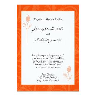 "Orange Rose Graphic Wedding Invitation 5"" X 7"" Invitation Card"