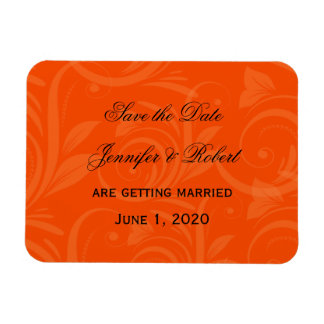 Orange Rose Graphic Wedding Save the Date Rectangular Photo Magnet