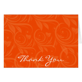 Orange Rose Graphic Wedding Thank You Card