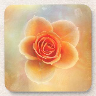 Orange rose illustration beverage coaster