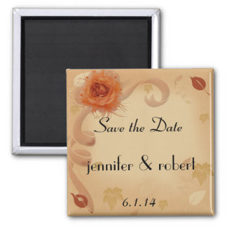 Orange Rose in the Fall Save the Date Magnet