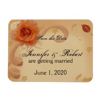 Orange Rose in the Fall Save the Date Rectangular Photo Magnet