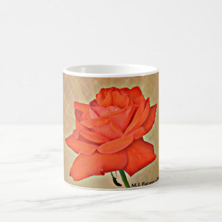 Orange Rose on Tan Coffee Cup