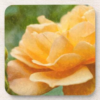 Orange Rose Painterly Drink Coasters