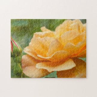 Orange Rose Painterly Jigsaw Puzzle