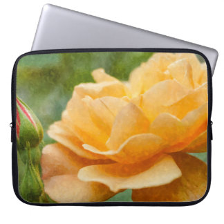Orange Rose Painterly Laptop Computer Sleeve