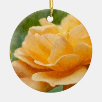 Orange Rose Painterly Round Ceramic Decoration