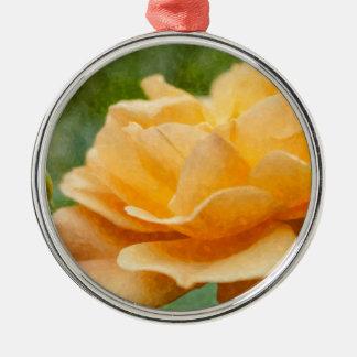 Orange Rose Painterly Silver-Colored Round Decoration