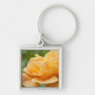 Orange Rose Painterly Silver-Colored Square Key Ring