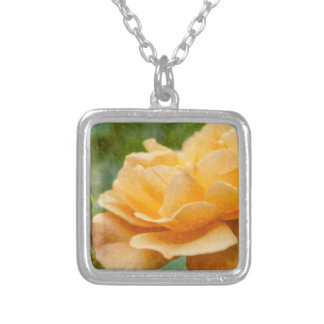 Orange Rose Painterly Silver Plated Necklace