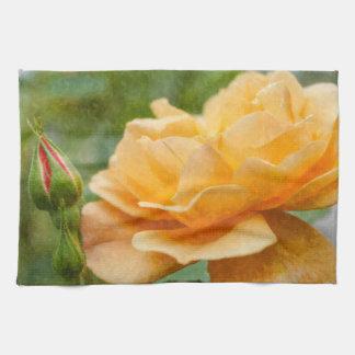 Orange Rose Painterly Tea Towel