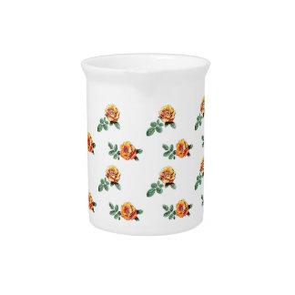 orange rose pattern beverage pitchers
