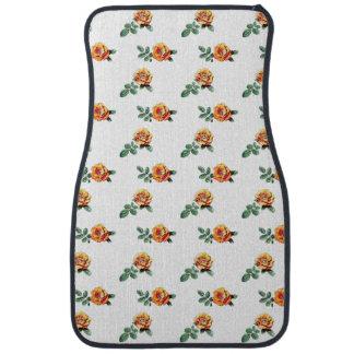 orange rose pattern car mat