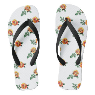 orange rose pattern thongs