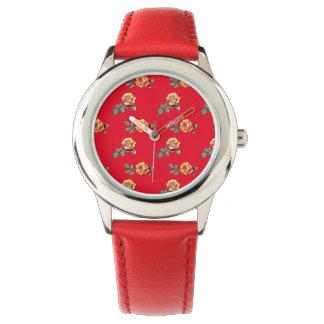 orange rose pattern watch