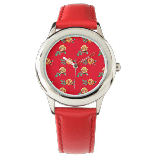 orange rose pattern watches