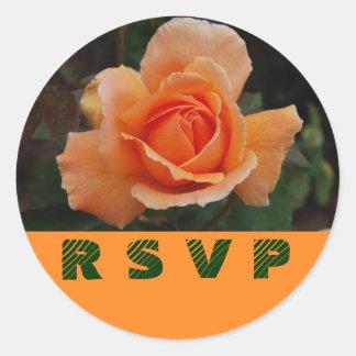 Orange Rose RSVP Envelope Seals Round Sticker