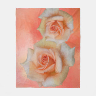 Orange Roses Abstract Fleece Blanket