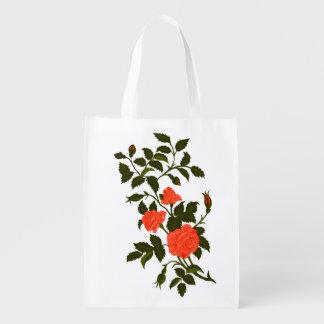 Orange Roses Vintage Rambling Rose Image Reusable Grocery Bag