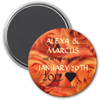 Orange Roses Wedding Save the Date Round Magnet