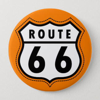 Orange Route 66 Road Sign 10 Cm Round Badge