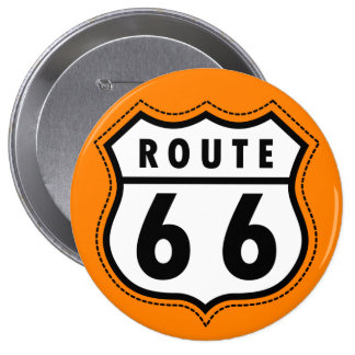 Orange Route 66 Road Sign 10 Cm Round Badge