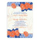 Orange Royal Blue Floral Wedding Invitation